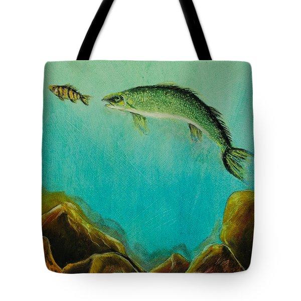 Underwater Predators Panel 1 Tote Bag by Jeanne Fischer