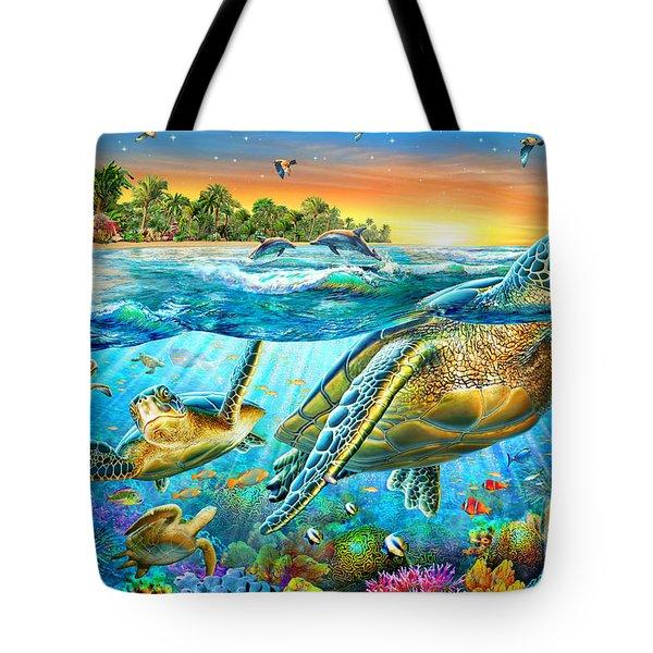 Underwater Turtles Tote Bag by Adrian Chesterman