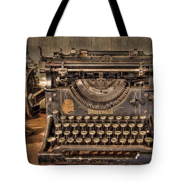 Underwood Typewriter Number 5 Tote Bag by Debra and Dave Vanderlaan