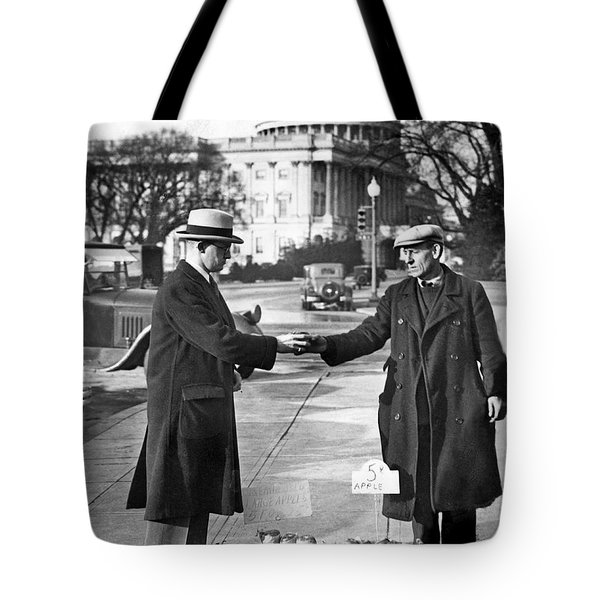 Unemployed Man Sells Apples Tote Bag by Underwood Archives