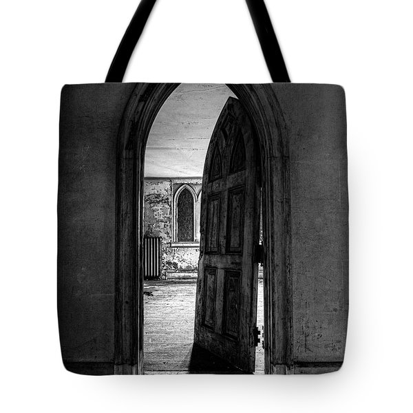 Unhinged - Old Gothic Door In An Abandoned Castle Tote Bag by Gary Heller