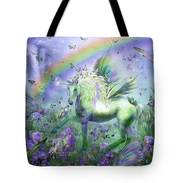 Unicorn Of The Butterflies Tote Bag by Carol Cavalaris