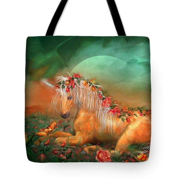 Unicorn Of The Roses Tote Bag by Carol Cavalaris