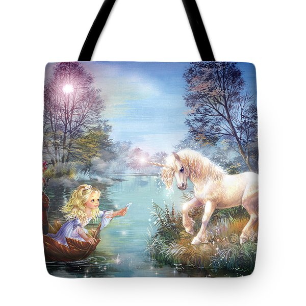 Unicorns Lake Tote Bag by Zorina Baldescu