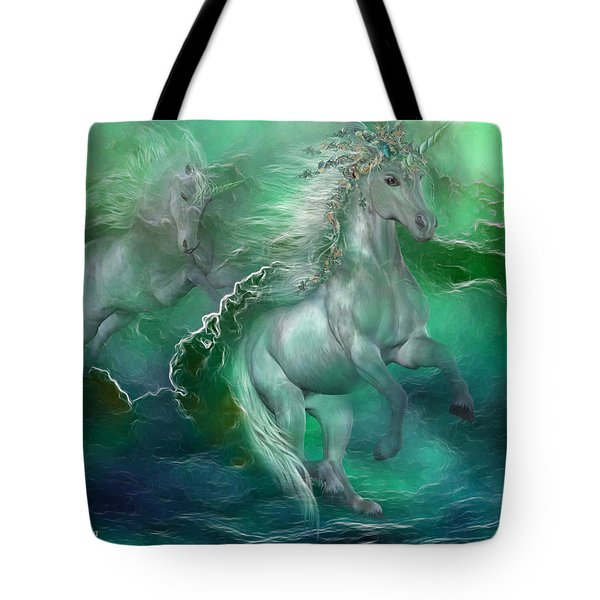 Unicorns Of The Sea Tote Bag by Carol Cavalaris