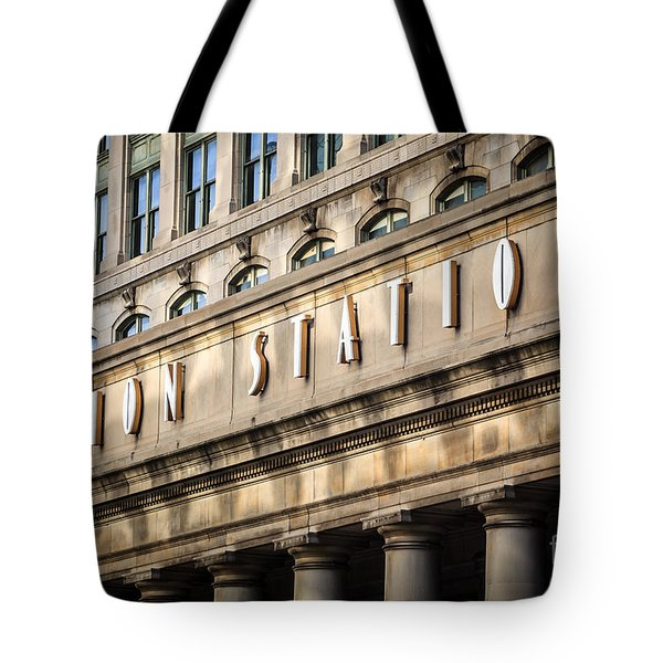 Union Station Chicago Sign And Building Tote Bag by Paul Velgos