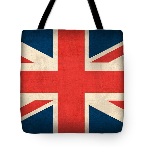 United Kingdom Union Jack England Britain Flag Vintage Distressed Finish Tote Bag by Design Turnpike