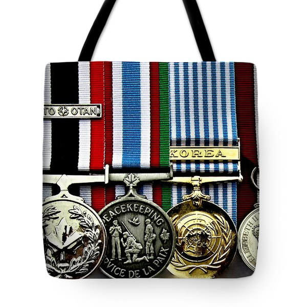 United Nations Peacekeeping Korean War Nato Medals Tote Bag by Danielle  Parent