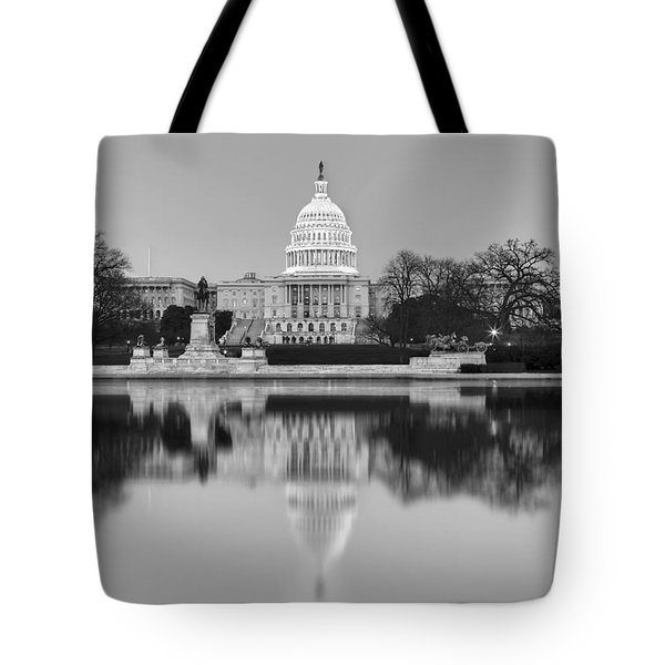 United States Capitol Building BW Tote Bag by Susan Candelario