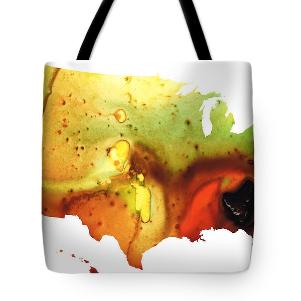 United States Of America Map 5 - Colorful Usa Tote Bag by Sharon Cummings