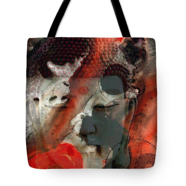 Universal Qi - Zen Black And Red Art Tote Bag by Sharon Cummings