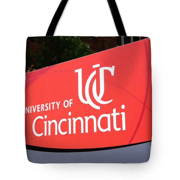 University Of Cincinnati Sign Tote Bag by Paul Velgos
