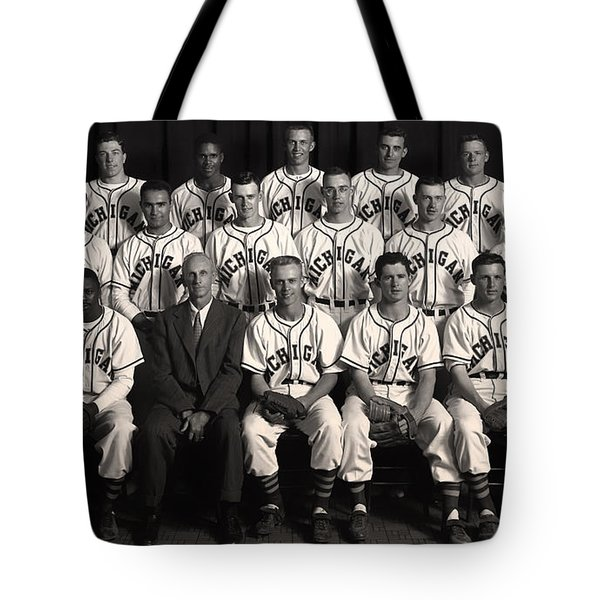University Of Michigan - 1953 College Baseball National Champion Tote Bag by Mountain Dreams