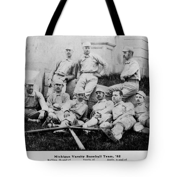 University Of Michigan Baseball Team Tote Bag by Georgia Fowler