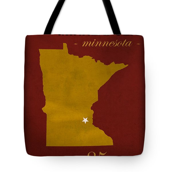 University Of Minnesota Golden Gophers Minneapolis College Town State Map Poster Series No 066 Tote Bag by Design Turnpike