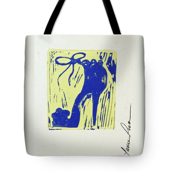 Untitled Shoe Print In Blue And Green Tote Bag by Lauren Luna