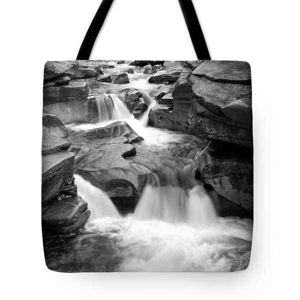 Upper Ammonoosuc Falls Black And White Tote Bag by Brett Pelletier