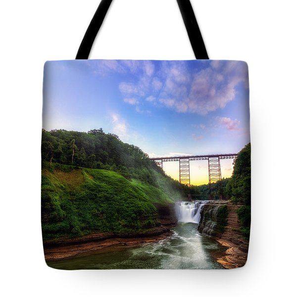 Upper Falls At Letchworth Tote Bag by Mark Papke