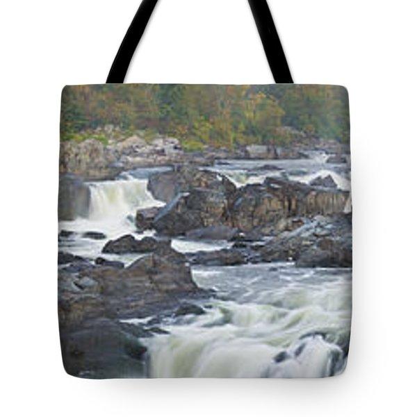 Upper Great Falls Panorama Tote Bag by Benjamin Reed
