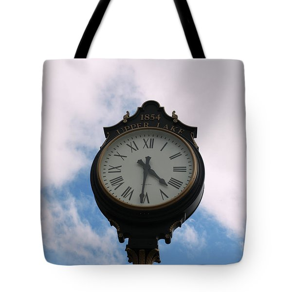 Upper Lake Clock Tote Bag by Cheryl Young