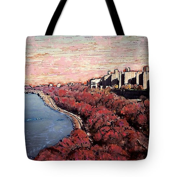 Upper Manhattan Along The Hudson River Tote Bag by Sarah Loft