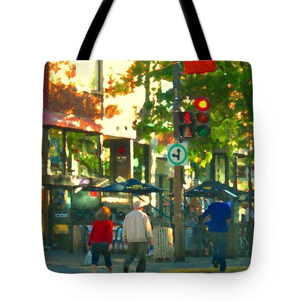 Urban Explorers Couple Walking Downtown Streets Of Montreal Summer Scenes Carole Spandau Tote Bag by Carole Spandau