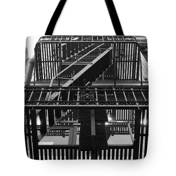Urban Fabric - Fire Escape Stairs - 5D20592 - Black and White Tote Bag by Wingsdomain Art and Photography