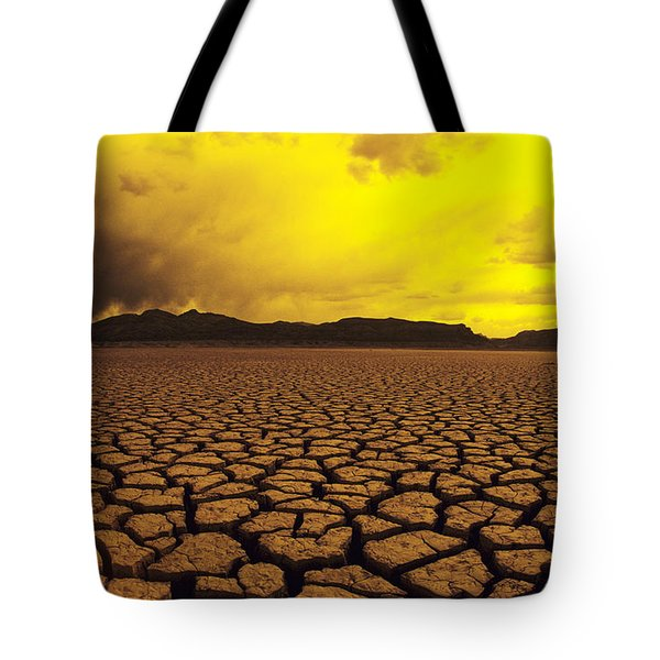 Usa, California, Cracked Mud In Dry Tote Bag by Larry Dale Gordon