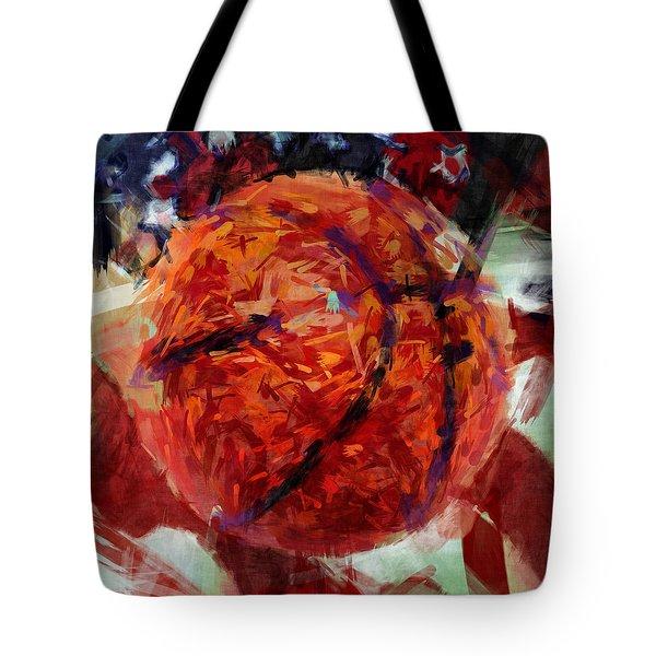 USA Flag and Basketball Abstract Tote Bag by David G Paul