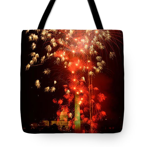 Usa, Washington Dc, Fireworks Tote Bag by Panoramic Images