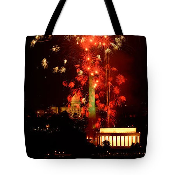 Usa, Washington Dc, Fireworks Tote Bag by Panoramic Images