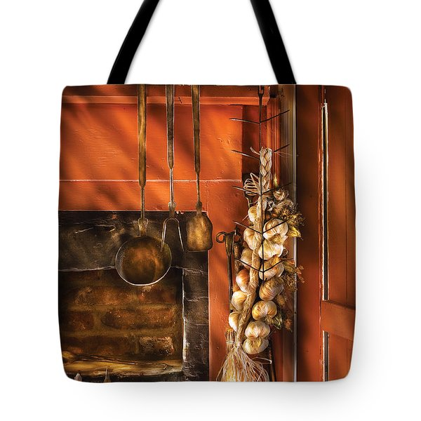 Utensils - Garlic and Spoons Tote Bag by Mike Savad