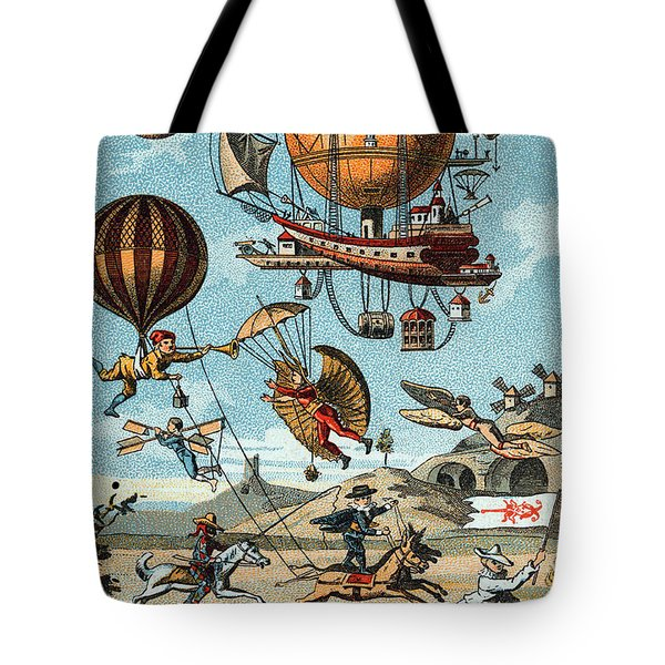 Utopian Flying Machines 19th Century Tote Bag by Science Source