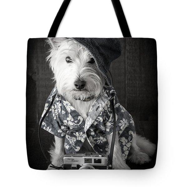 Vacation Dog With Camera And Hawaiian Shirt Tote Bag by Edward Fielding