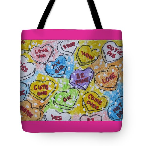 Valentine Candy Hearts Tote Bag by Kathy Marrs Chandler