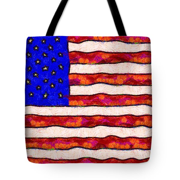 Van Gogh.s Starry American Flag Tote Bag by Wingsdomain Art and Photography