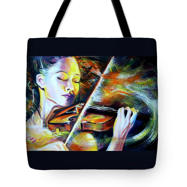 Vanessa-mae.power Of Music Tote Bag by Anna  Duyunova