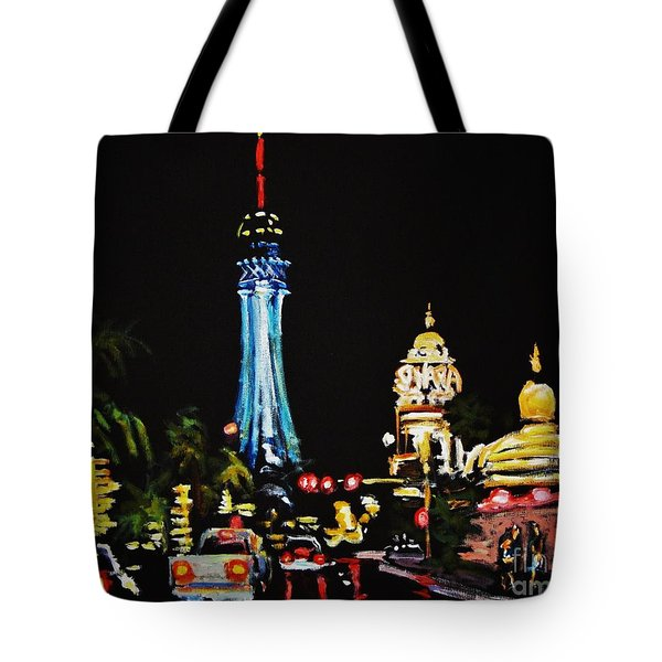 Vegas At Night Tote Bag by John Malone