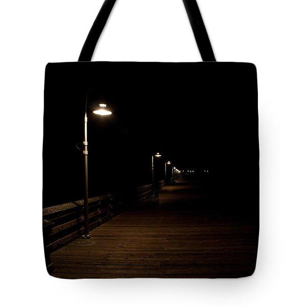 Ventura Pier At Night Tote Bag by John Daly