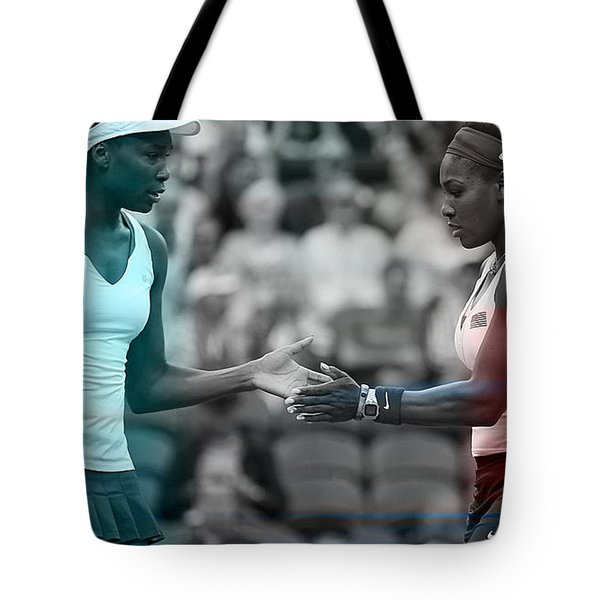 Venus Williams And Serena Williams Tote Bag by Marvin Blaine