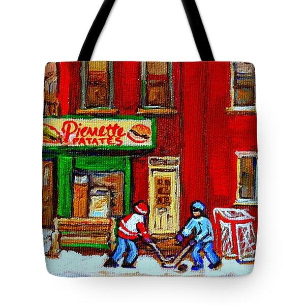 VERDUN ART WINTER STREET SCENES PIERRETTE PATATES RESTO HOCKEY PAINTING VERDUN MONTREAL MEMORIES Tote Bag by CAROLE SPANDAU