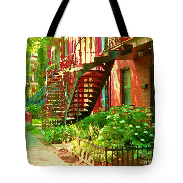 Verdun Stairs Winding Staircases And Fenced Flower Garden Montreal Summer Scene Carole Spandau Tote Bag by Carole Spandau