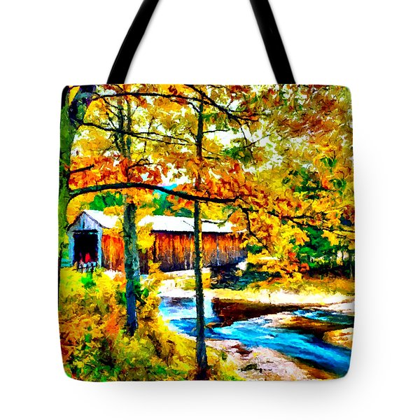 Vermont Covered Bridge Tote Bag by Bob and Nadine Johnston