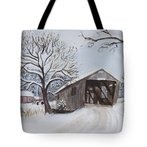 Vermont Covered Bridge In Winter Tote Bag by Donna Walsh