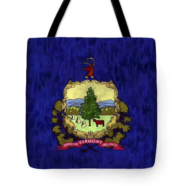 Vermont Flag Tote Bag by World Art Prints And Designs