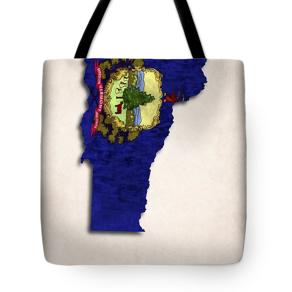 Vermont Map Art with Flag Design Tote Bag by World Art Prints And Designs