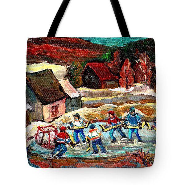 VERMONT POND HOCKEY SCENE Tote Bag by CAROLE SPANDAU