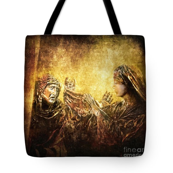 Veronica Wipes His Face Via Dolorosa 6 Tote Bag by Lianne Schneider