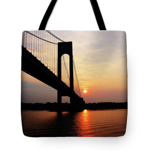 Verrazano Bridge At Dawn Tote Bag by Susan Savad