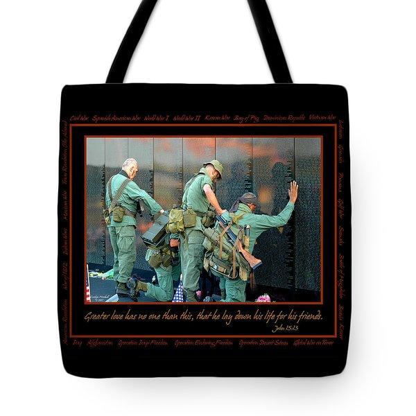 Veterans at Vietnam Wall Tote Bag by Carolyn Marshall